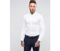 Enges, langärmliges Satin-Hemd Weiß