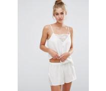 Schlafanzugset mit Shorts und Camisole mit Spitzeneinsatz Weiß