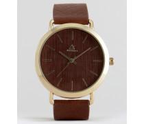 Uhr in Holzoptik Braun