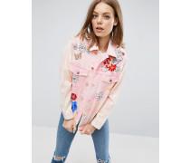 Mit 'Forget Me Not' und Blumen bedruckte Denimjacke in verwaschenem Rosa Rosa