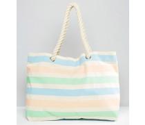 Strandtasche mit pastellfarbenen Streifen Mehrfarbig