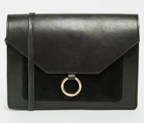 Vintage-Umhängetasche aus Leder mit Metallring-Detail Schwarz