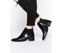 Flache Ankle-Boots aus Leder Schwarz