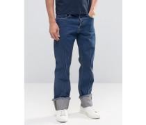 Gerade Jeans in Indigoblau mit Biesenverzierung Blau