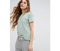 Distressed-T-Shirt Grün