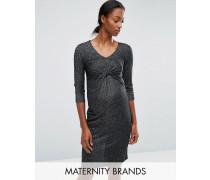 Mamalicious Glitzerndes Jersey-Kleid mit Knoten vorn Schwarz