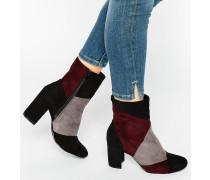 Ankle Boots mit Absatz in Patchwork-Optik Mehrfarbig