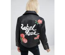 Schwarze Bikerjacke aus Leder mit Rückenmotiv Rebel Rose Schwarz