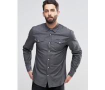 Jeanshemd mit Druckknöpfen Grau