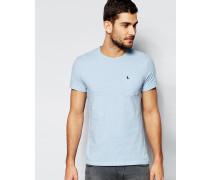 Schmales T-Shirt mit Tasche in Blau mit Noppenstruktur Blau
