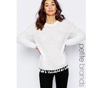 Pullover mit Quastenverzierung Weiß