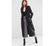 Mittellanger Mantel aus Wollmischung mit Bindegürtel Grau