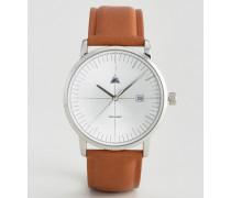 Armbanduhr mit gewölbtem Glas und Datumsanzeige in Hellbraun Braun