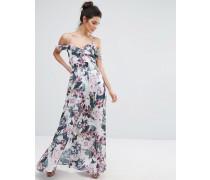 Cold Shoulder Ruffle Floral Maxi Dress Mehrfarbig