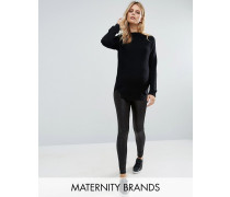 Mamalicious Leggings in Leder-Optik Schwarz