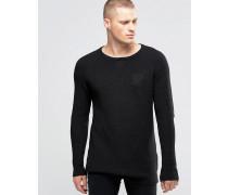 Leichter Pullover mit breitem Kragen Schwarz