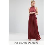 Langes Ballkleid mit Raffung und Falten Rot