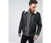 Schwarze Jacke in Schaffelloptik Schwarz