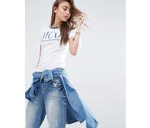 Burnout-S-Shirt mit weiß gestreiften Ärmelbn und Logo Mehrfarbig