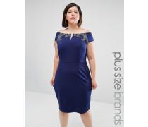 Figurbetontes Kleid mit Bardotausschnitt Marineblau