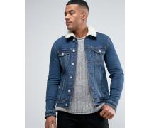 Enge Jeansjacke mit Teddykragen in mittlerer Waschung Blau