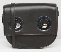 Eyelet Detail Cross Body Bag Schwarz