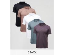 Jersey-Polohemden im 5er-Pack, RABATT Mehrfarbig