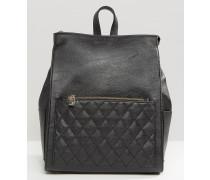 Rucksack mit gesteppter Tasche Schwarz