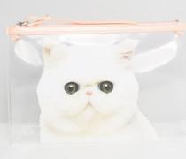 Geldbörse mit Katzenmotiv und Reißverschluss Weiß