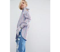 Bunt gestreiftes Baumwollhemd mit geschnürten Trägern Mehrfarbig