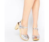 Sehr hohe Peeptoe-Sandalen in Silber-Metallic Silber