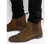 Chelsea-Stiefel aus Wildleder in Khaki Grün