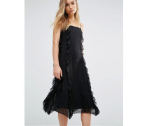 Trägerkleid mit Rüschen Schwarz