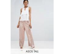 Occasion Hose mit weitem Bein und plissiertem Saum Rosa