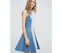 Closet Ärmelloses Kleid in A-Linie mit Kontrastbahn und Kragen Blau