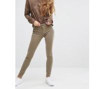 Jessica Alba X DL No.3 Instasculpt Skinny-Jeans mit Reißverschluss-Details Grün