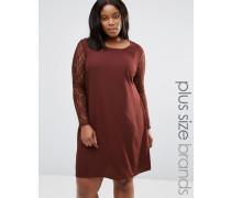 Plus Clarissa Kleid mit Spitzenärmeln Rot