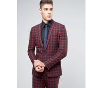 Sehr schmale Anzugjacke mit Karomuster in Marineblau und Rot Rot