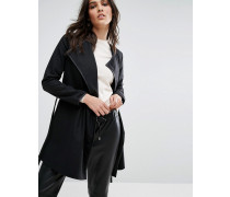 Kurzer Mantel mit Gürtel Schwarz