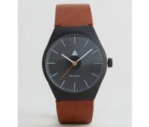 Schwarze Uhr mit hellbraunem Band Schwarz