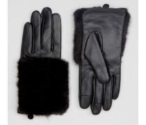 Handschuhe im Leder-Fell-Mix mit Touchscreen Schwarz