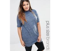 Meliertes Jersey-T-Shirt mit hohem Ausschnitt Blau