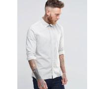 Nudie Henry Hemd in gebrochenem Weiß mit Indigo-Streifen Weiß