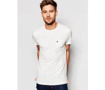 Weißes, enges, genopptes T-Shirt mit Tasche Weiß