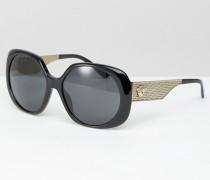 Eckige Oversize-Sonnenbrille mit goldener Verzierung Schwarz