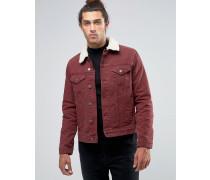 Schmal geschnittene Jeansjacke in Burgunderrot mit Borgkragen Rot