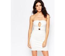 Figurbetontes Kleid mit Gürtel und Schlüssellochausschnitt Cremeweiß