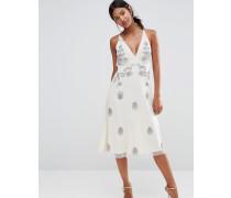 Boutique Kleid mit Bändern am Rücken und Verzierungen Cremeweiß