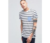 Solid Gestreiftes T-Shirt mit Rundhalsausschnitt, Kontrasttasche und Details am Arm Marineblau