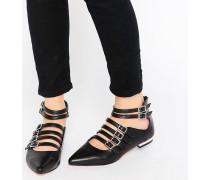 Edlyn Flache, spitze Schuhe mit mehreren Riemen Schwarz